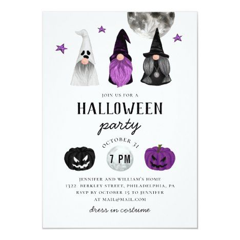 Halloween Party Philadelphia 2020 Black and purple Halloween party. Gnomes & pumpkin Invitation