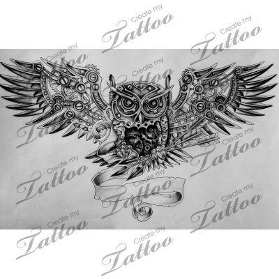 Steampunk Mechanical Owl Revised Owl 98754 Createmytattoo Com Steampunk Tattoo Custom Tattoo Design Create My Tattoo