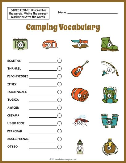Free Printable Camping Vocabulary Worksheet Vocabulary Worksheets, Esl  Vocabulary, Kindergarten Worksheets Printable