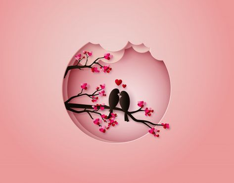 Bird in love paper cut illustration Prem...   Premium Vector #Freepik #vector #background #floral #tree #heart