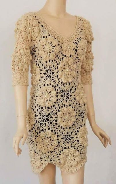 By Mariza Crochet Designer: Vestido Crochet longo ou Curto