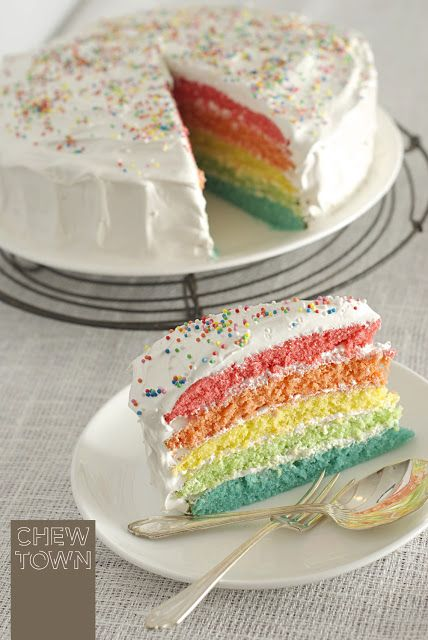 Rainbow Layer Cake With Marshmallow Frosting