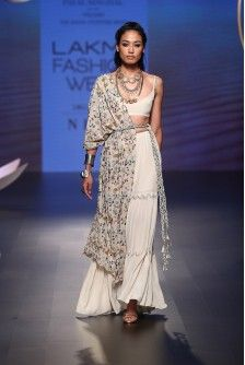 Payal Singhal Off The Runway Collection : : Zamira Sharara Set : Stone Color Crepe Bustier And Sharara Pants Worn With Georgette Tulip Garden Embroidered One-Sided Jacket And Gold Color Lace Belt