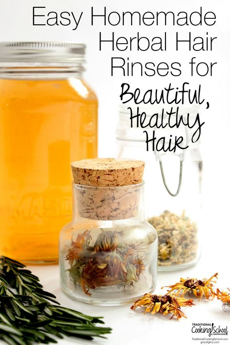 Easy Homemade Herbal Hair Rinses for Beautiful, Healthy, Hair   Drugstore shelves are full of products that promise to give us healthy, manageable, shiny, smooth, strong, and beautiful hair. The problem is, most of those bottles are filled with anything-but-healthy chemicals. Thankfully, we need look no further than our own kitchens, gardens, or local herb shops to find natural, organic care for truly healthy locks!   TraditionalCookingSchool.com