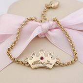 Baby Bracelets for Girls - Yellow Gold Tiara Engravable Baby Bracelet, Belcher Chain, 6