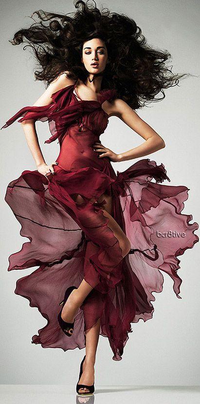 Calle Stoltz burgundy red dress