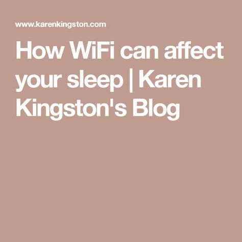 does wifi router affect sleep