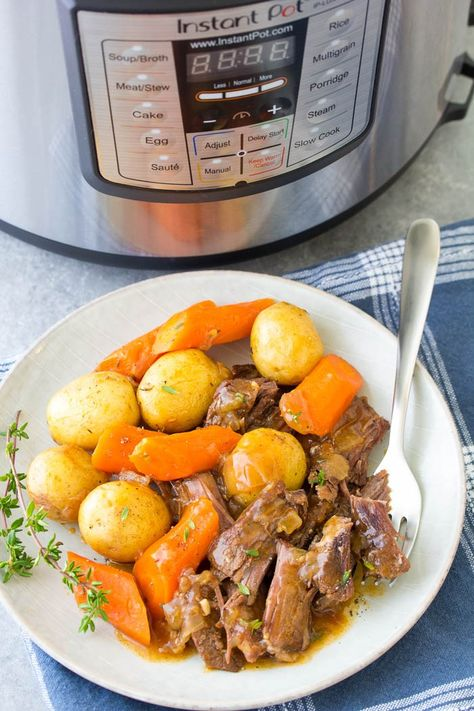 The best Instant Pot Pot Roast with potatoes, carrots and a flavorful gravy. The beef is melt in your mouth tender! This simple pot roast recipe is so easy to make in your pressure cooker! Cook from fresh or frozen.