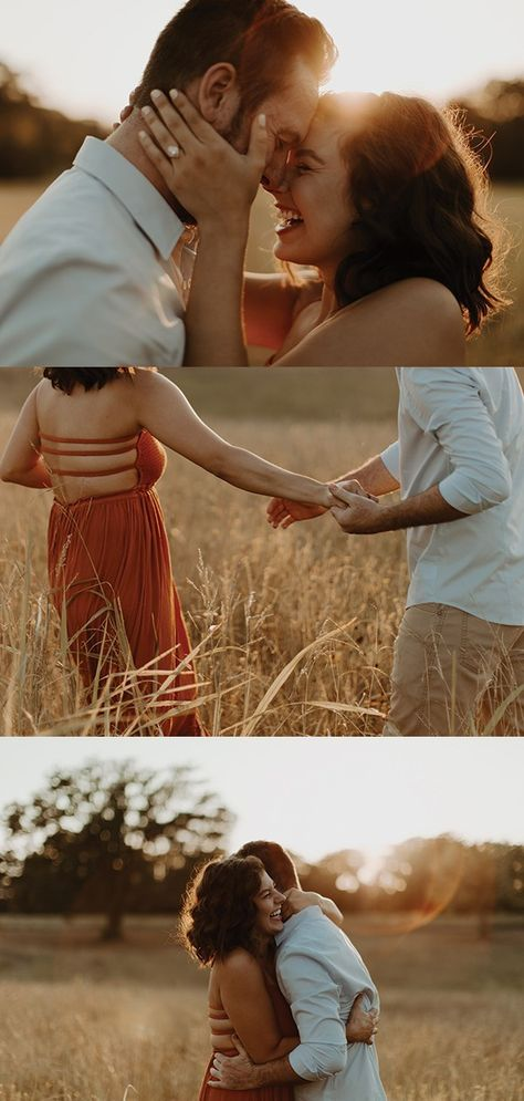 collage of golden hour engagement session