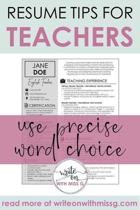 Resume Tips for Teachers