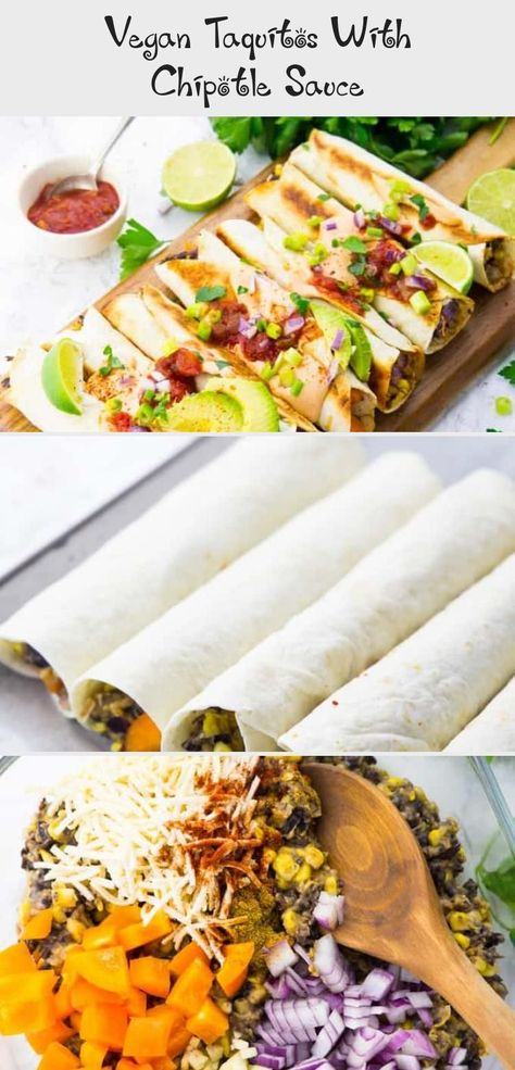 If you like Mexican food, you will LOVE these vegan taquitos with chipotle sauce! They're pure comfort food! And they make such a great vegan dinner. Find more vegan recipe ideas on veganheaven.org! #taquitos #vegan #vegandinner #FoodandDrinkMeat #mexican recipe taquitos