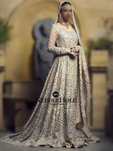 Lavish Designer Wedding Gown In Pale Gold Colour