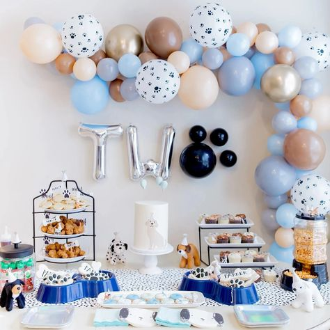 Mar 2020 - Parker's puppy PAWty pictures are here! 🐾 Raise your hand if party details are your FAV! Dog First Birthday, Puppy Birthday Parties, Puppy Party, Baby Birthday, Birthday Party Themes, Balloon Birthday Parties, Dog Party Themes, Birthday Ideas, Birthday Wall