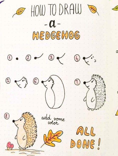 Autumn Doodles Step by Step (Hedgehog) #Dual Doodles #step, - #drawings