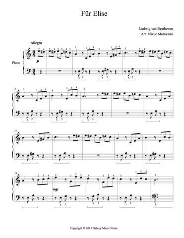 Fur Elise Level 3 Piano Sheet Music In 2020 Sheet Music