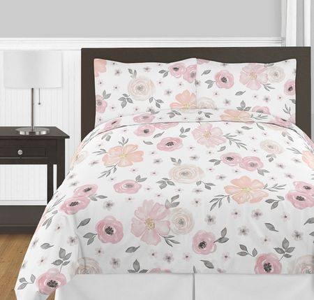 Watercolor Floral Pink And Grey Bedding Set By Sweet Jojo Designs Shop Children S Bedding Boutique Pink Bedroom Decor Pink And Grey Bedding Bedding Sets Grey