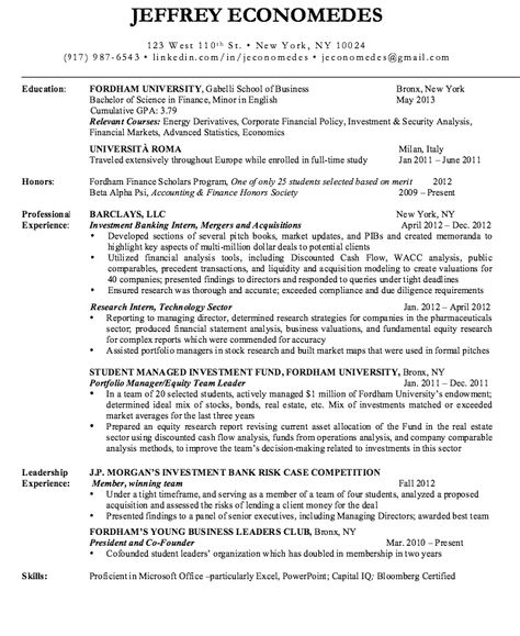 Sample Resume Investment Banking -    resumesdesign sample - resume for barista