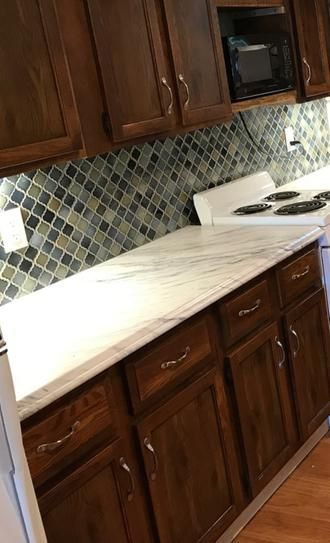 Hampton Bay 8 Ft Laminate Countertop Kit With Right Miter In Calcutta Marble With Valencia Edge 12337kt08r4925 The Home Depot In 2020 Laminate Countertops Cheap Kitchen Countertops Countertops