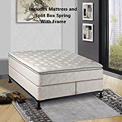 Continental Matress Mattress 10 Inch Fully Assembled Pillow Top Orthopedic Mattress And Split Box Spring With Frame With Frame Cal King Comfort Mattress Mattress Matress