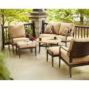 Hampton Bay Madison 4 Piece Patio Deep Seating Set With Textured Golden  Wheat Cushions 13H 001 4DS At The Home Depot | Furniture Shop | Pinterest |  Patios, ...