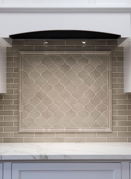 Kitchen backsplash, stove hood, tile shapes, beige tile, subway tile, Neutral kitchen range backsplash by Sonoma Stellar in Barnwood