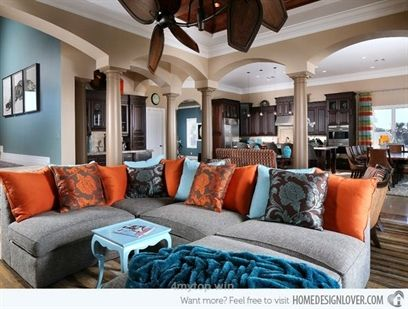 15 Stunning Living Room Designs with Brown, Blue and Orange Accents- not big on the pattern on the p