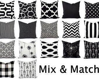 Two Black White Decorative Pillow Covers Two Black And White Pillows Polka Dot Pillows Pillow Shams Black Pillows White Polka Dot In 2020 Black And White
