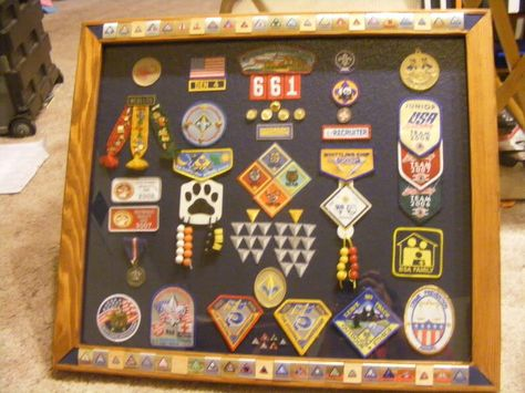 Excellent idea for displaying scout badges and beltloops (the beltloops are inlaid into the frame!)