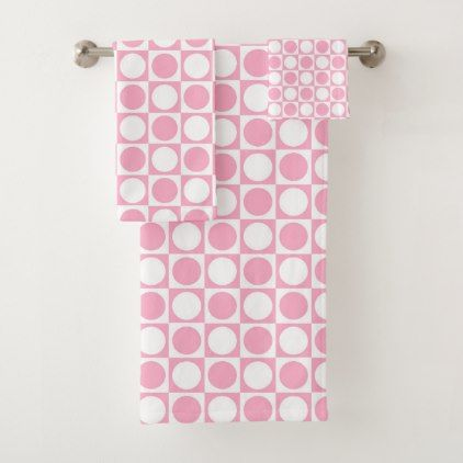 Pink And White Squares And Polka Dots Bath Towel Set Zazzle Com