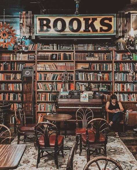 In honor of Independent Bookstore Day (April we've picked the best bookshop in every state—plus a few others we loved. Library Cafe, Dream Library, Library Books, Cafe Bookstore, Library Store, Bookstore Design, Modern Cafe, Beautiful Library, Book Cafe