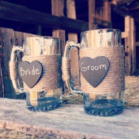 Hey, I found this really awesome Etsy listing at https://www.etsy.com/listing/169769171/bride-and-groom-beer-mugs-rustic-wedding