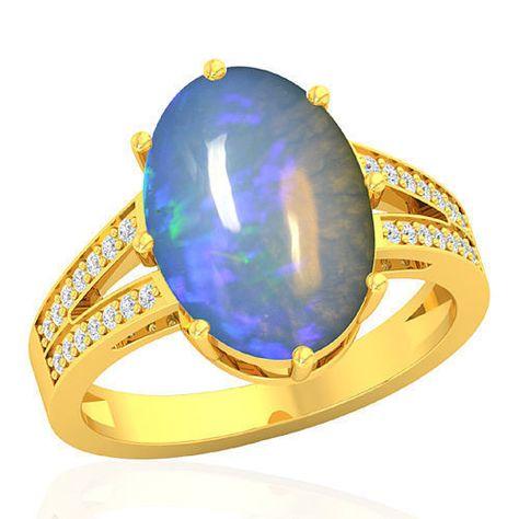 18k Pure W Gold Natural 3.14 Cts Ethiopian Welo Opal Diamond Ladies Wedding Ring