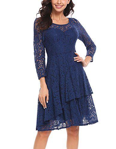 Parabler Damen 1950er Elegant Spitzenkleid Rundhals Knielang Festlich Cocktail Abendkleid Kleid Mit Armel Spitzenkleid Kleider