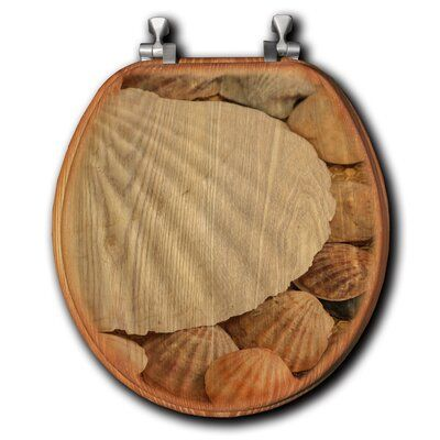 Wgi Gallery Shells Abound Oak Round Toilet Seat Wood Toilet Seat