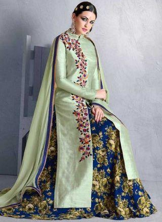 Pista Blue Embroidery Work Bhagalpuri Silk Chiffon  Designer Anarkali Suit  http://www.angelnx.com/Salwar-Kameez
