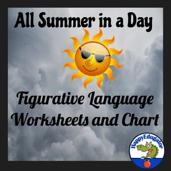 image relating to All Summer in a Day Worksheet called All Summer months in just a Working day through Ray Bradbury Figurative Language