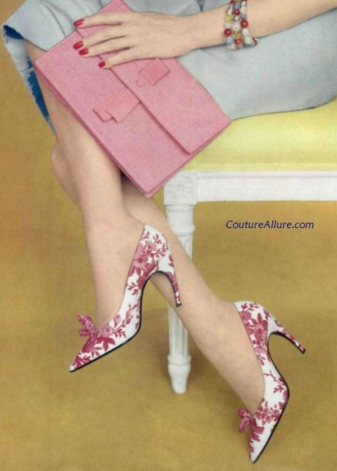 Roger Vivier for Christian Dior pink silk toile shoes, 1959. …