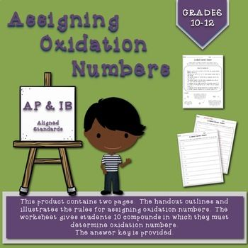Assigning Oxidation Numbers Handout And Worksheet Handouts Teaching Chemistry Worksheets