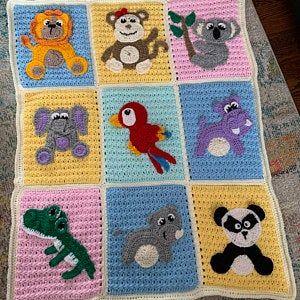 animal embelishment blanket pattern instant download pdf pattern Jungle series animal applique blanket pattern