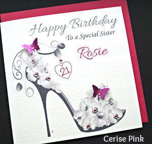 LARGE A5 Handmade Personalised BALLERINA Birthday Card Sister Friend Daughter