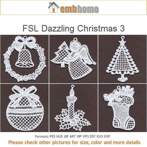 FSL Dazzling Christmas Ornament Free Standing Lace by embhome