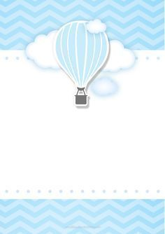 Convite Balão De Ar Quente Azul 6 Tarjetas De Bebé