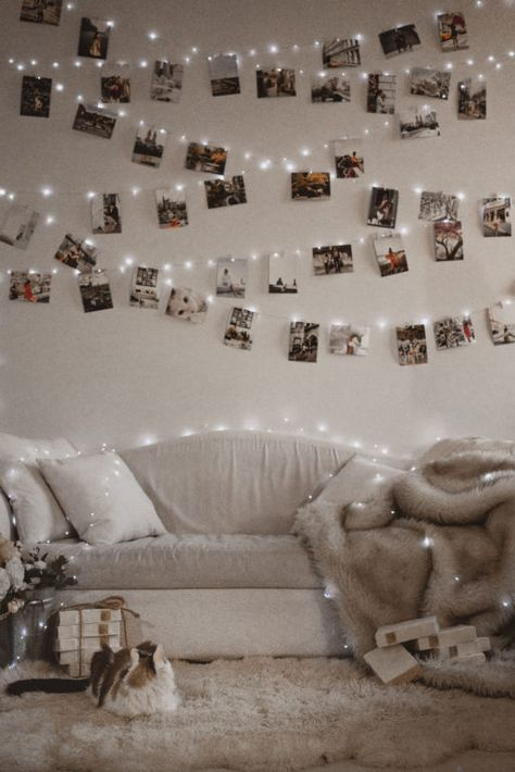 It's that time of the year! The lights go up, and this year, we're doing another photo wall! Room Ideas Bedroom, Bedroom Wall, Bedroom Decor, Bedroom Photo Walls, Bedroom Inspo, Polaroid Wall, Polaroid Camera Instax, Polaroid Display, Photo Wall Decor