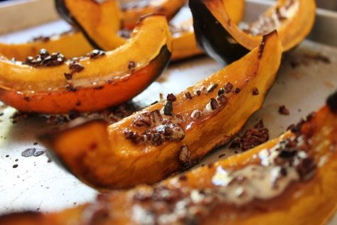Roasted Acorn Squash with Brown Butter Theo Cocoa Nibs
