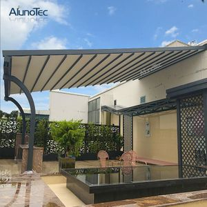 Outdoor Wind Resistance Waterproof Aluminium Pvc Retractable Awning Roof With Led Buy Pvc Pergola Retractable Pergola Modern Gazebo Aluminum Pergola Pergola