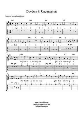 Duydum Ki Unutmussun Nota Tab Akor Gitaregitim Net Gitaregitim Net Muzik Gitar Musica