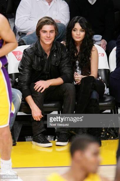 Vanessa Hudgens And Zack Efron Attend The Los Angeles Lakers Vs New In 2020 Vanessa Hudgens American Actors Lakers Vs