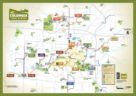 Trail Guide Map in Columbia MO all biking trails around the city
