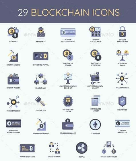 Cryptocurrency - Bitcoin & Blockchain Icon Set - Envato Market #icon #GraphicDesign #design #IconDesign #BestDesignResources