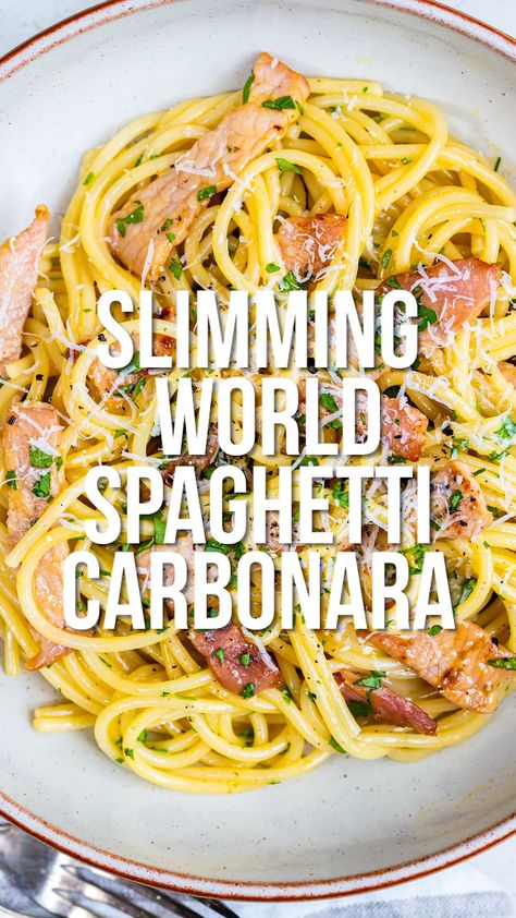 This Slimming World Carbonara is super easy, uses just a handful of ingredients and is completely syn-free! Let me guide you on how to make a creamy authentic Italian Carbonara recipe that, surprisingly, contains no cream. I guarantee it will be come one of your favourite quick meals – ready in just 10 minutes!